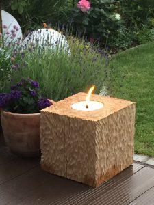 Kerzenleuchter Holz für die Terrasse